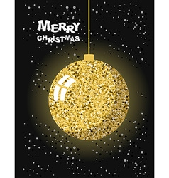 Merry christmas gold christmas tree toy ball and vector