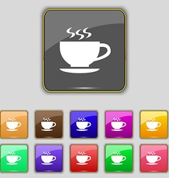 The tea and cup icon sign set with eleven colored vector