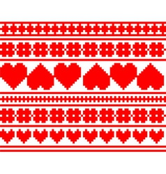 seamless knitted valentine pattern vector image