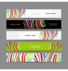Set of banners colorful zebra print design vector