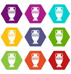 ancient jug icon set color hexahedron vector image vector image