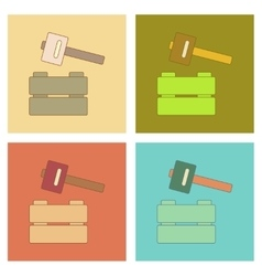 assembly flat icons Kids toy hammer vector image vector image