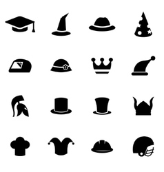 Black helmet and hat icon set vector
