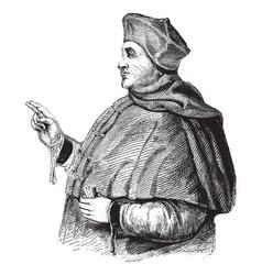 Cardinal thomas wolsey vintage vector