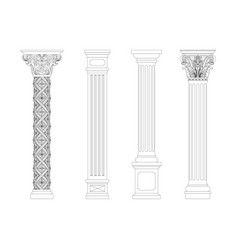 contouring coloring of classical columns vector image vector image