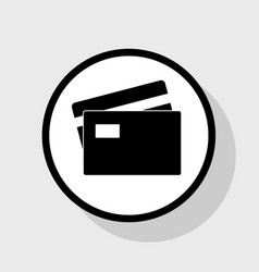 Credit card sign flat black icon in white vector