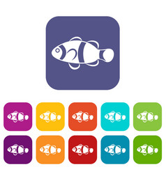 Cute clown fish icons set vector