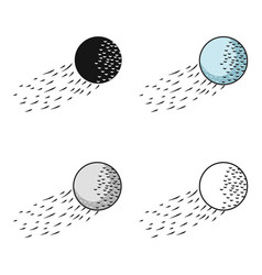Flying golf ball icon in cartoon style isolated on vector
