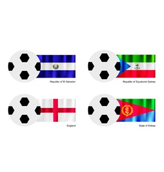 Football with el salvador equatorial guinea flag vector