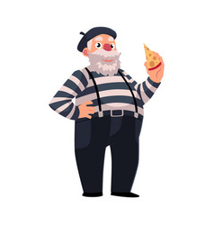 Grey haired fat french mime in traditional vector