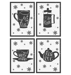 Lettering on hot coffee and tea cup Hand drawn vector image