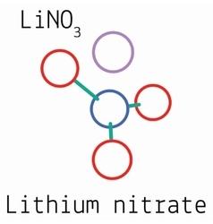 LiNO3 Lithium nitrate molecule vector image vector image
