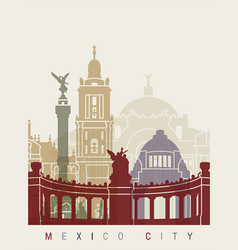 mexico city skyline poster vector image vector image