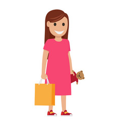 Mother with bag and toy llustration shopping time vector