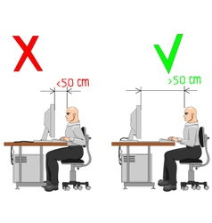 Proper distance from display vector image vector image