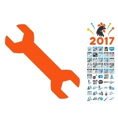 Repair wrench icon with 2017 year bonus pictograms vector