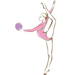Rhythmic gymnast holding a ball vector image