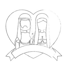 Saint joseph and virgin mary icon vector