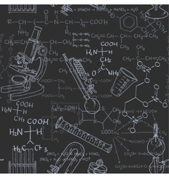 Seamless pattern of the formulas on the chemicals vector