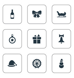 set of simple christmas icons vector image