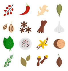Spice icons set in flat style vector
