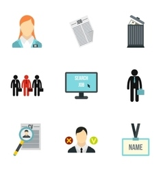 Staffing agency icons set flat style vector