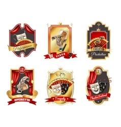 Theatre emblems set vector