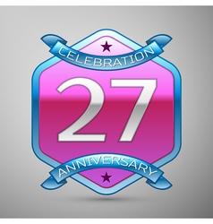 Twenty seven years anniversary celebration silver vector