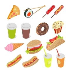 Unhealthy food and drinks set vector