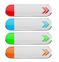 White buttons with colored tags menu interface vector