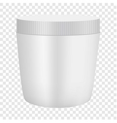 White plastic cosmetic container mockup vector
