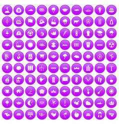 100 lotus icons set purple vector