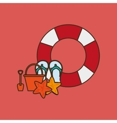 Life preserver with vacation travel icons image vector