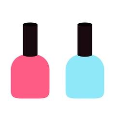 Pink blue nail polish varnish icon set White vector image