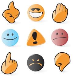 Smooth emoticon and cursor icons vector image