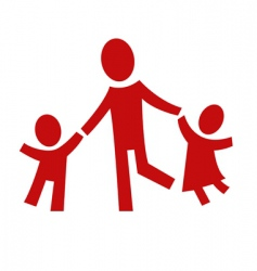 adult and two children vector image