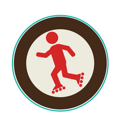skate athlete silhouette icon vector image