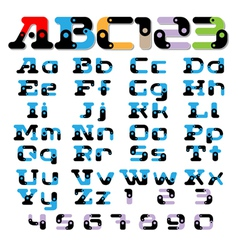 Sectional fonts alphabet vector