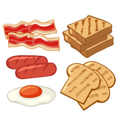 Breakfast set with sausages and bread vector