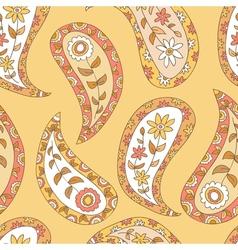 Orange paisley seamless pattern vector image