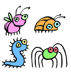 Funny cartoon insects vector