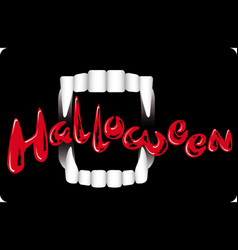 Vampire teeth on a dark background holiday vector