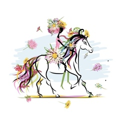 Floral girl on white horse for your design vector
