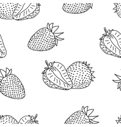 Strawberry doodle seamless vector