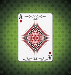 Ace of diamonds poker cards green background vector