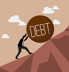 Businessman pushing heavy debt uphill vector