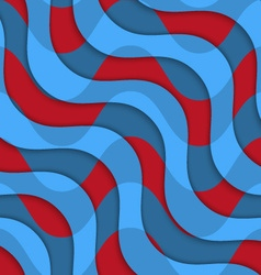 Retro 3d red blue overlaying waves vector