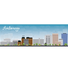 Anchorage alaska skyline with grey buildings vector