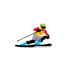 Slalom sign athlete on the downhill vector
