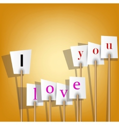 White posters with inscription - i love you vector